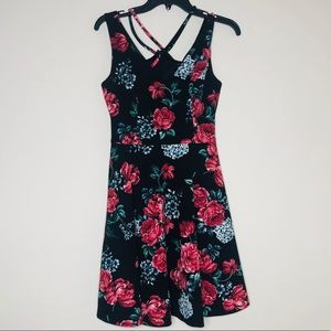 Guess Los Angeles Black Floral Fit And Flare dress